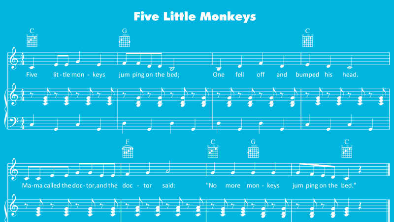 image for five little monkeys sheet music