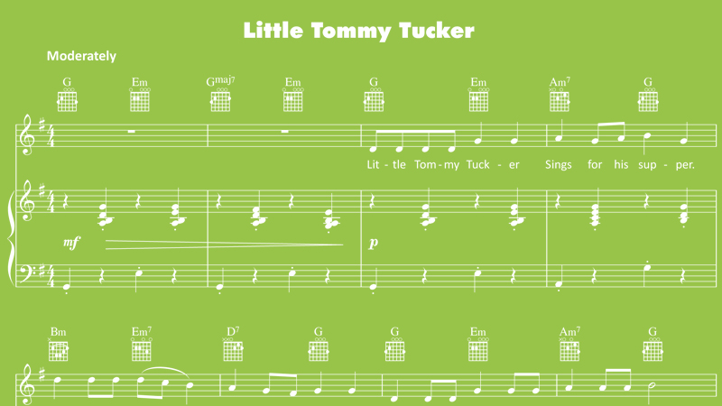Image for Little Tommy Tucker – Sheet Music