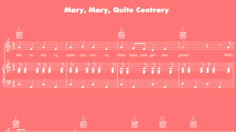Image for Mary, Mary, Quite Contrary – Sheet Music