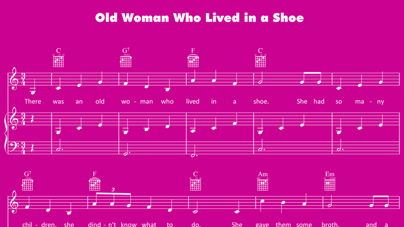 Image for Old Woman Who Lived in a Shoe – Sheet Music