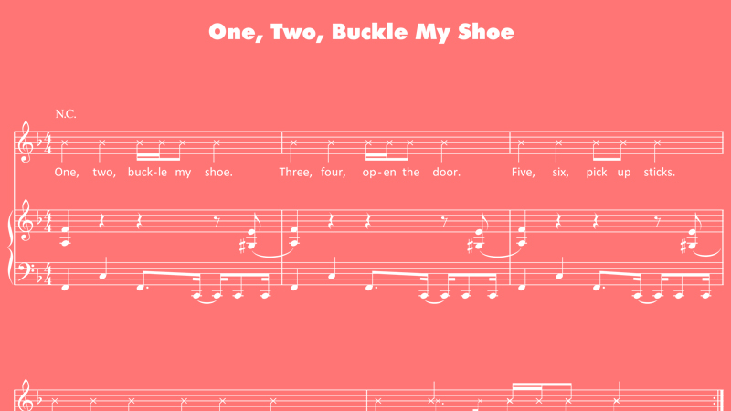 Activity nursery rhyme one two buckle my shoe sheet music