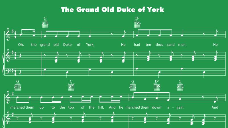 Image for The Grand Old Duke of York – Sheet Music