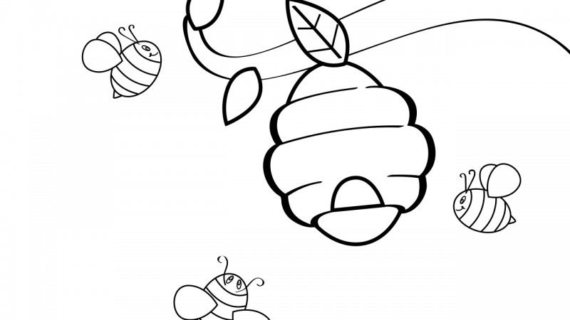 Image for Bees – Coloring Page