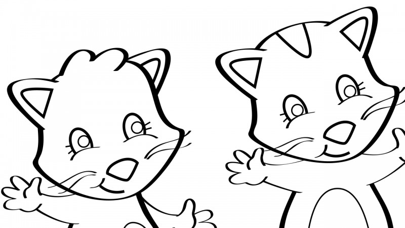 Image for Three Little Kittens – Coloring Page