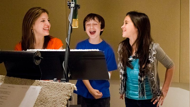 Ivy, Liam and Abigail recording Mother Goose Club Sings Nursery Rhymes Volume 1