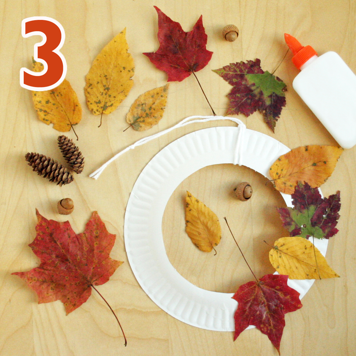 Fall wreath craft step 3
