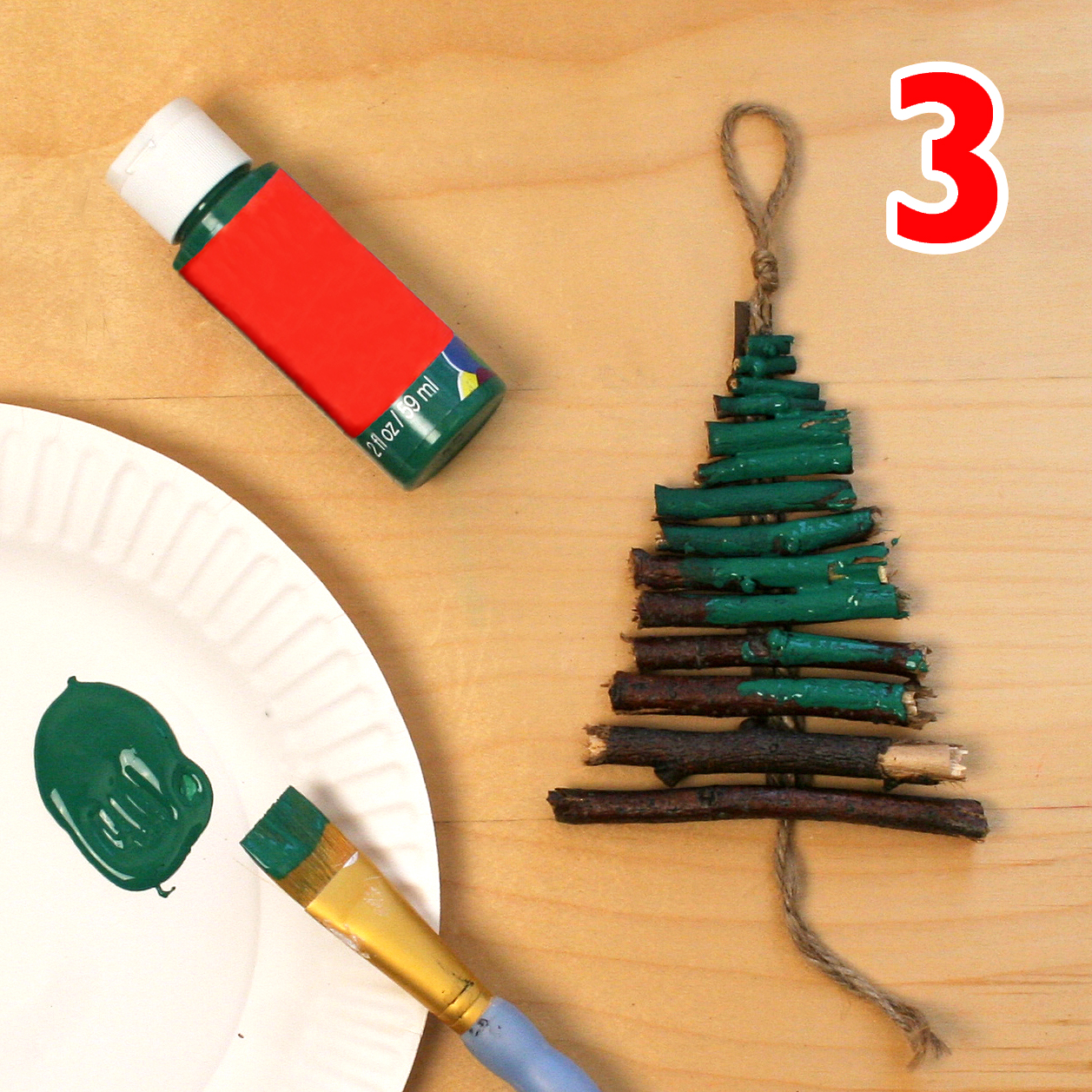 Christmas tree ornament craft step 3