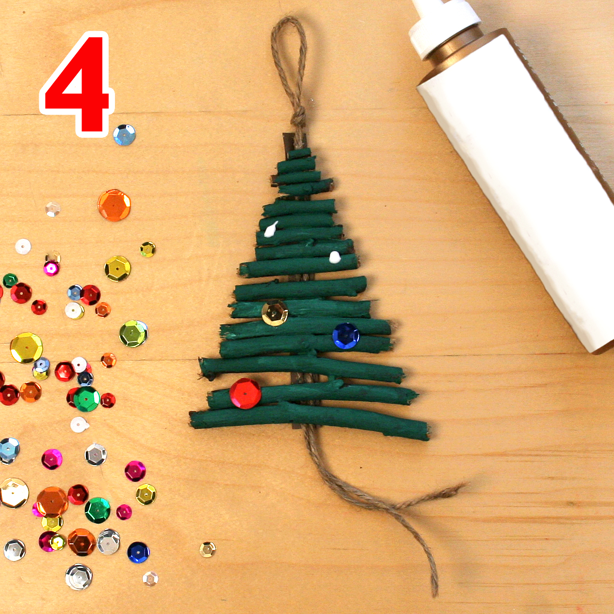 Christmas tree ornament craft step 4