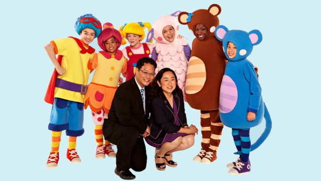 Harry and Sona Jho with Mother Goose Club cast