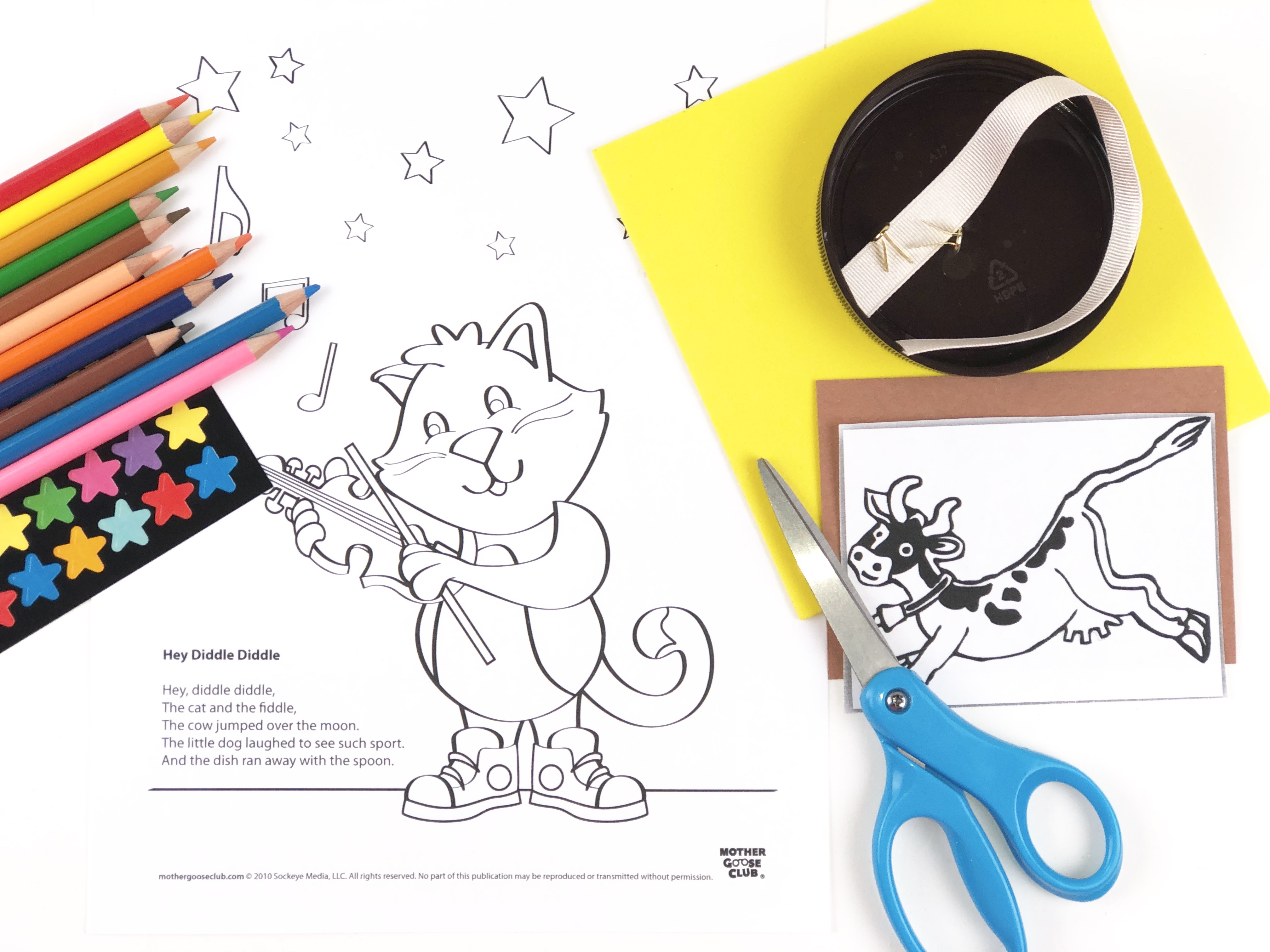 Hey Diddle Diddle Coloring Craft materials